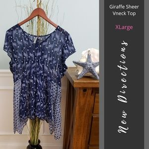 New Directions | Giraffe Sheer Vneck Top